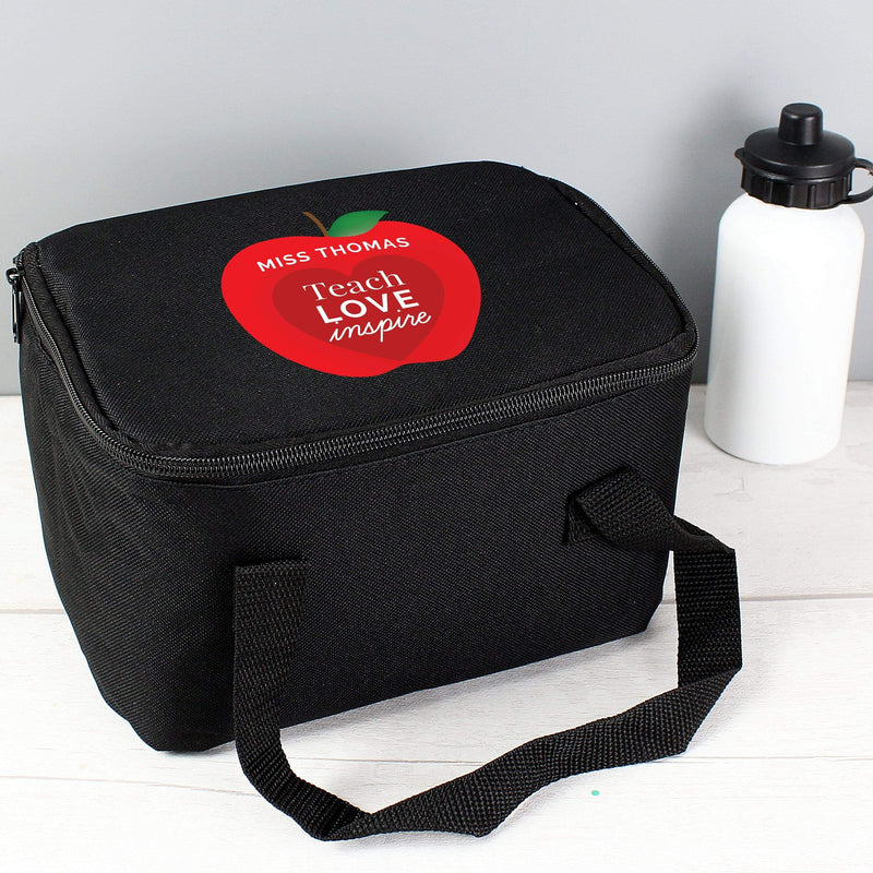 Personalised Teachers Apple Black Lunch Bag - The Personal Shop