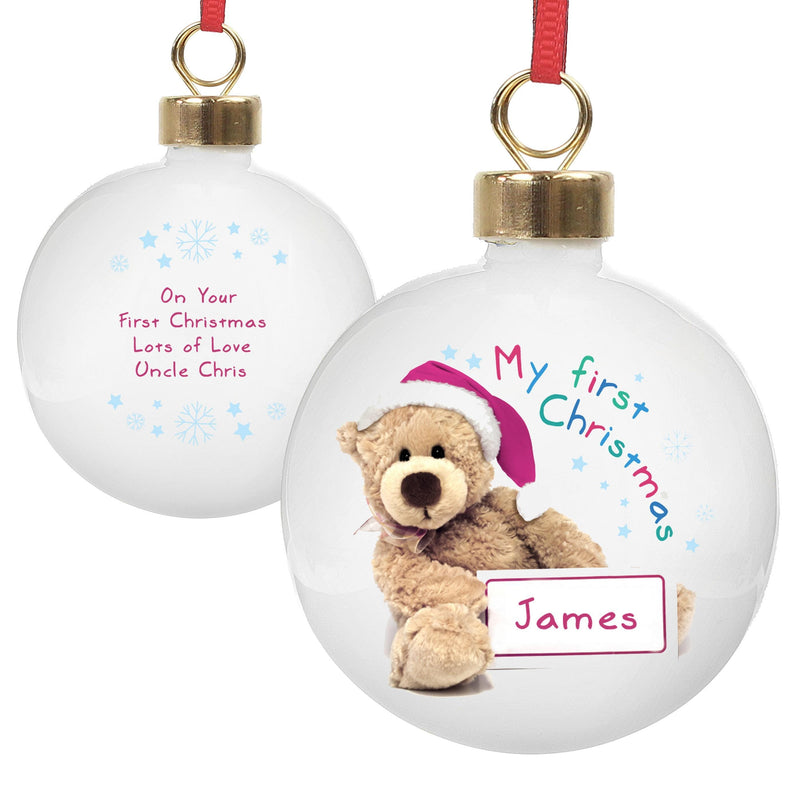 Personalised Teddy 1st Christmas Bauble - The Personal Shop