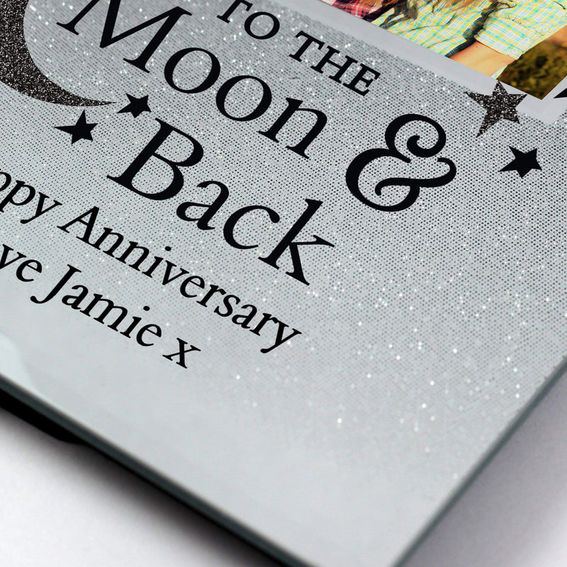 Personalised To the Moon and Back 4x4 Glitter Glass Photo Frame - The Personal Shop