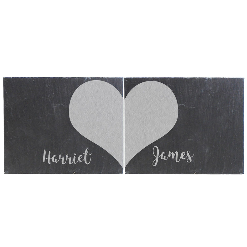 Personalised Two Hearts Slate Coaster Set - The Personal Shop