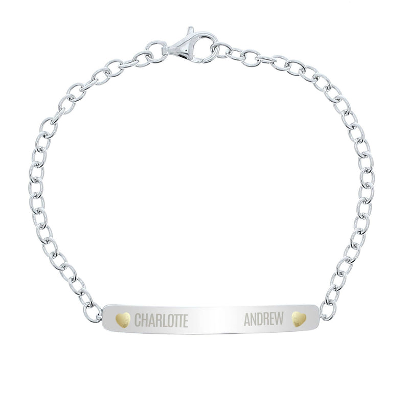 Personalised Two Names Sterling Silver and 9ct Gold Bar Bracelet - The Personal Shop