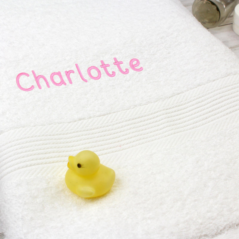 Personalised White Bath Towel - Pink - The Personal Shop