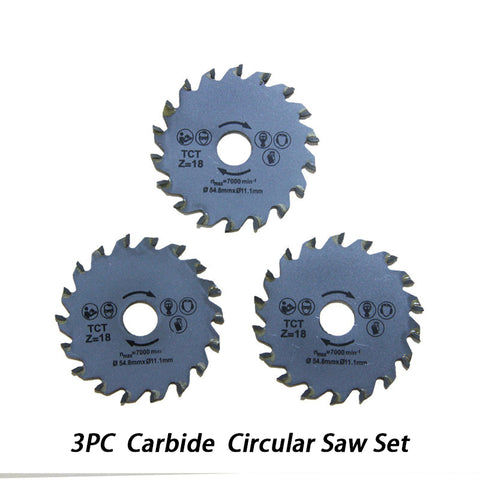 54.8mm Carbide Circular Saw Blades Wood Metal Cutting for Rotary Tool  - 3Pack