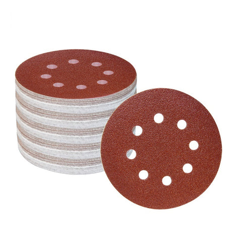 "100PC 125mm 5"" 8 Hole Abrasive Sandpaper Sanding Disc Hook & Loop Sand Paper Grits 60 ~ 1500"