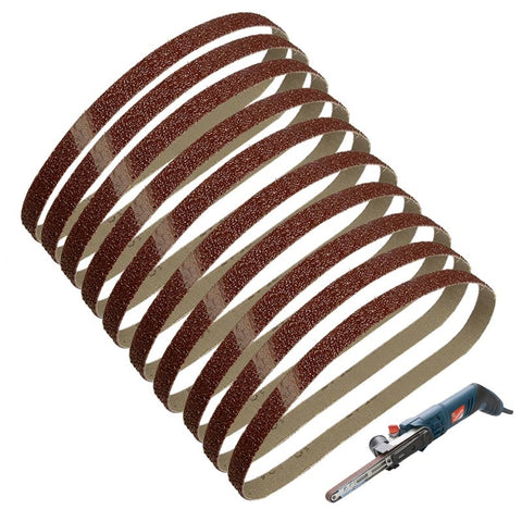"10PC 1/2""x18"" Sanding Belts 13X457mm 40 60 80 120 180 240 Grit Aluminium Oxide"
