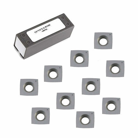 "15x15x2.5mm 4"" Radius R100 Carbide Inserts For Grizzly H9893 H7354 for Byrd Shelix - 10 Pack"