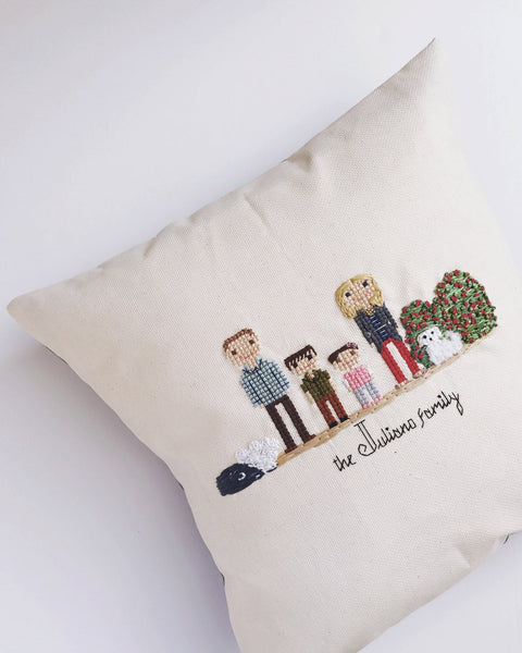 Family Cross Stitch Pillow | Custom Cross Stitch | Custom Embroidered Pillow | Wedding Gift | Housewarming Gift | by Cloth and Twig