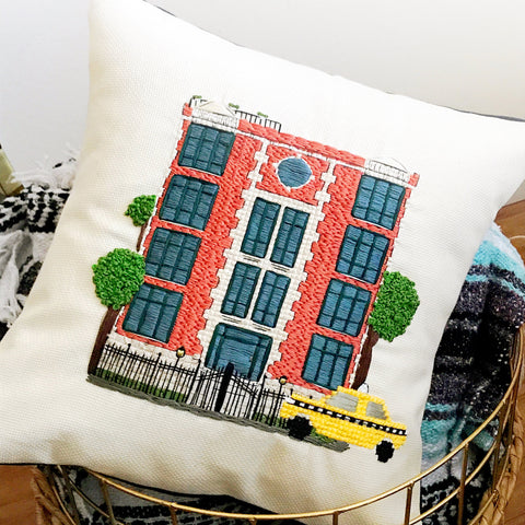Custom Home pillow in Cross Stitch