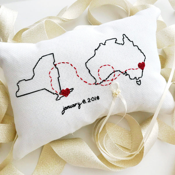 Connecting States Ring Pillow | Ring Bearer Pillow