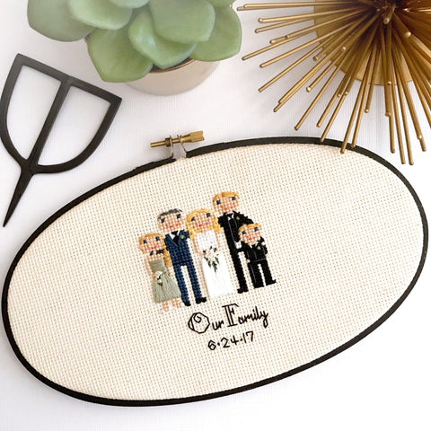 Custom Cross Stitch Wedding Portrait
