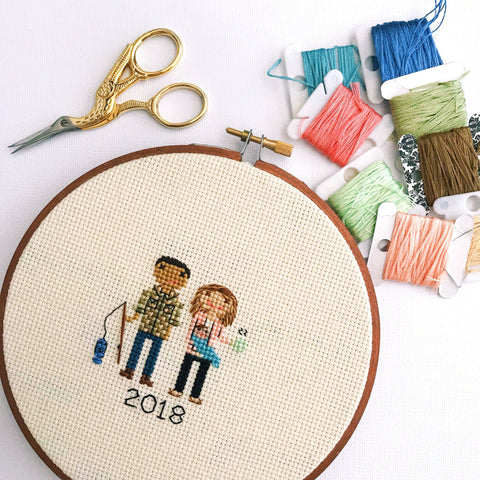 Custom 2 Character Cross Stitch Family Portrait