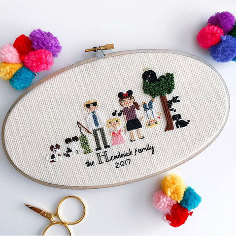 Custom 6+ Character Cross Stitch Family Portrait