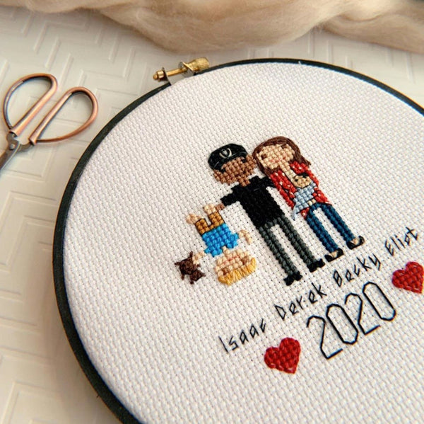 Custom 3 Character Cross Stitch Family Portrait