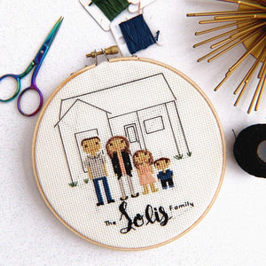 Custom 5 Character Cross Stitch Family Portrait