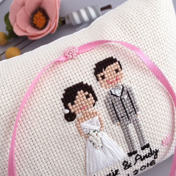 Custom Ring Pillow in Cross Stitch | Ring Bearer Pillow