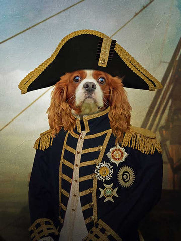 Admiral, Pet Portraits, Personalised Custom Pet Canvas, Renaissance Dog Art