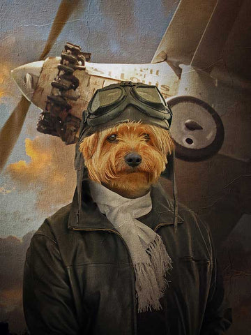 Aviator, Pet Portraits, Personalised Custom Pet Canvas, Renaissance Dog Art