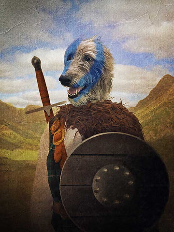 Braveheart, Pet Portraits, Personalised Custom Pet Canvas, Renaissance Dog Art