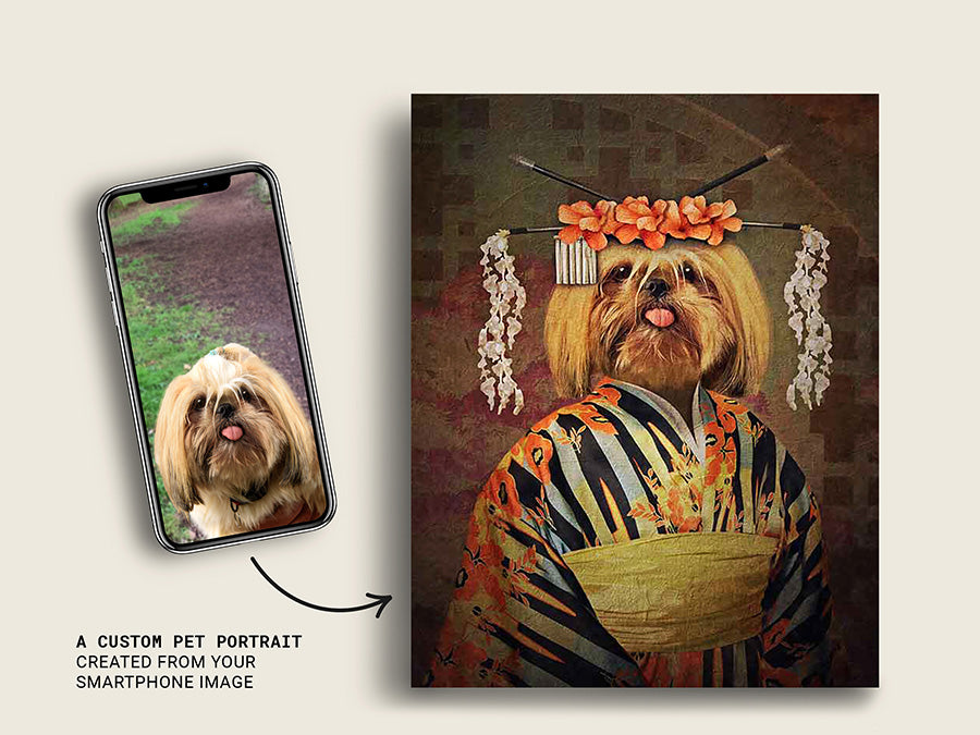 Geisha, Pet Portraits, Custom Dog Canvas Prints