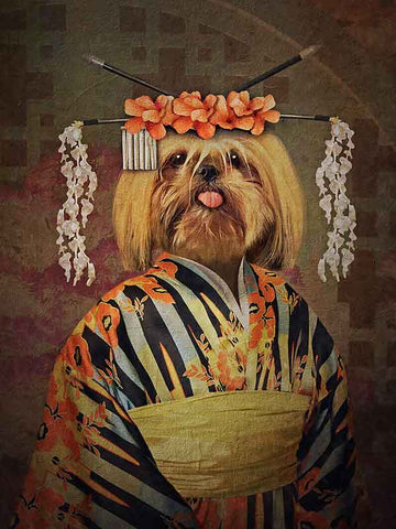 Geisha, Pet Portraits, Personalised Custom Pet Canvas, Renaissance Dog Art