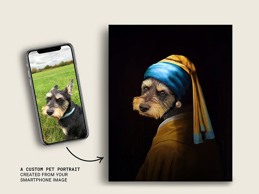 Girl With A Pearl Earring, Pet Portraits, Custom Dog Canvas Prints