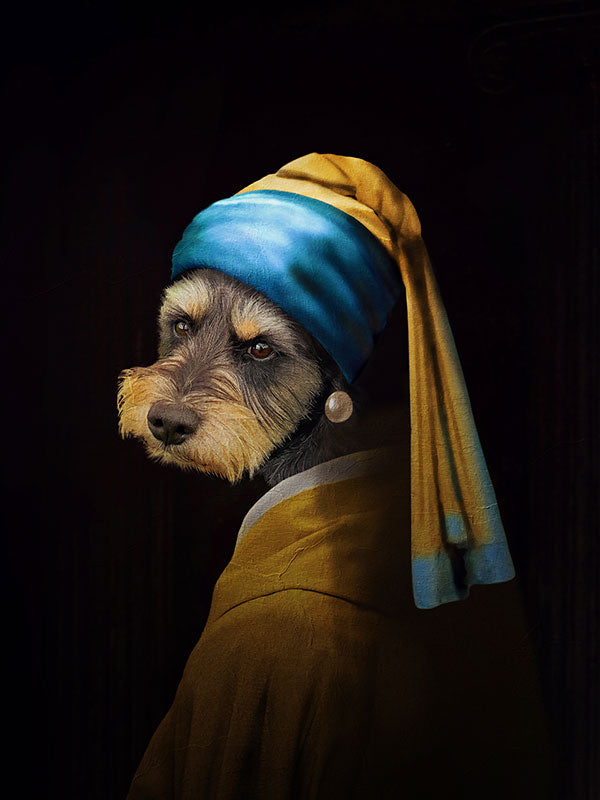Girl with a Pearl Earring, Pet Portraits, Personalised Custom Pet Canvas, Renaissance Dog Art