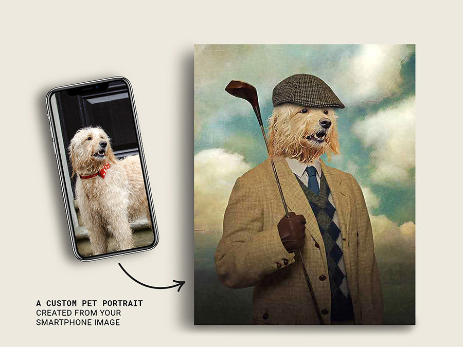 Golfer, Pet Portraits, Custom Dog Canvas Prints