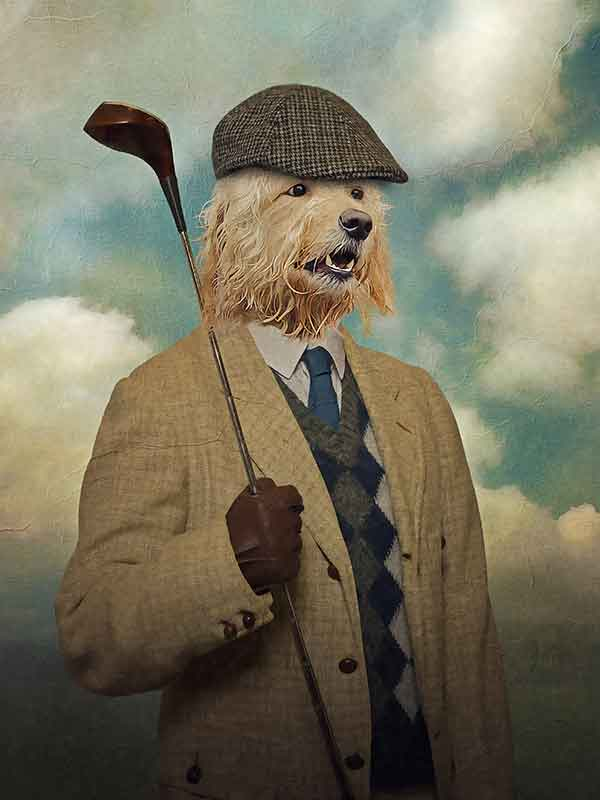 Golfer, Pet Portraits, Personalised Custom Pet Canvas, Renaissance Dog Art