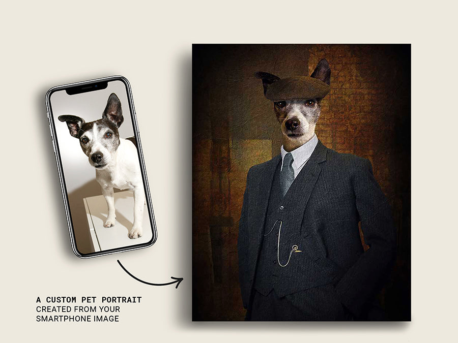 Peaky Blinder Tommy, Pet Portraits, Custom Dog Canvas Prints