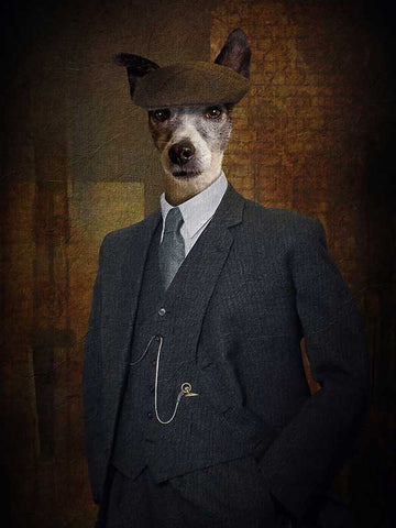Peaky Blinder Tommy, Pet Portraits, Personalised Custom Pet Canvas, Renaissance Dog Art