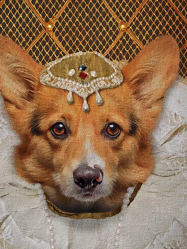 Queen Elizabeth I, Pet Portraits, Personalised Custom Pet Canvas, Renaissance Dog Art