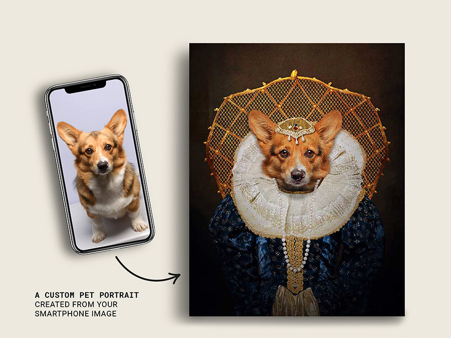 Queen Elizabeth l, Pet Portraits, Custom Dog Canvas Prints