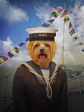Sailor, Pet Portraits, Personalised Custom Pet Canvas, Renaissance Dog Art