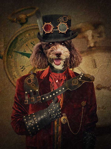 Steampunk, Pet Portraits, Personalised Custom Pet Canvas, Renaissance Dog Art
