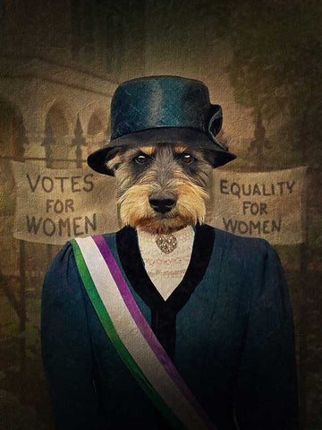 Suffragette, Pet Portraits, Personalised Custom Pet Canvas, Renaissance Dog Art