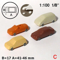 CARS, 4 TYPES, SCALE M=1:100 (SELECT SIZE AND COLOUR)