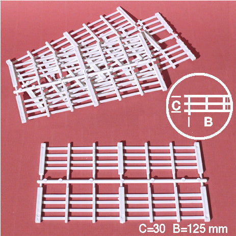 FENCE ELEMENTS, PLANKS, WHITE, M=1:25 (8 PCS)