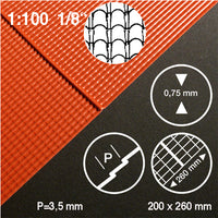 ROOF TILE SHEET, RED, M=1:100 (1 PC)