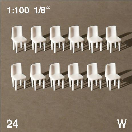CHAIRS, WHITE, SCALE M=1:100, 24 PCS (DIFFERENT TYPES)