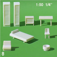 HOTEL ROOM FURNITURE SET, WHITE, M=1:50 (1 SET)