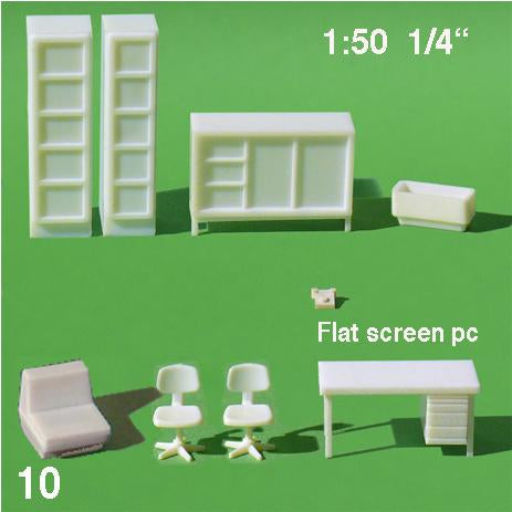 OFFICE FURNITURE SET, WHITE, M=1:50 (1 SET)