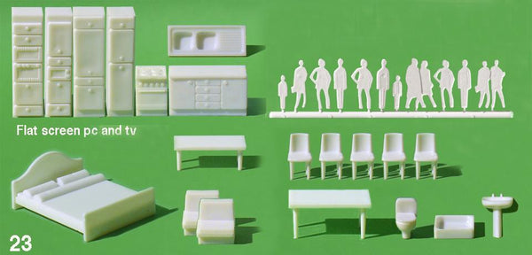 SMALL APARTMENT, INCL FIGURES, WHITE, M=1:50 (1 SET)