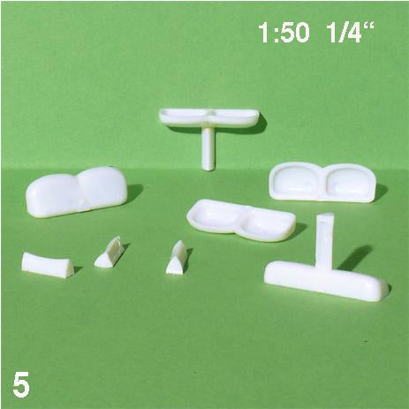 PEDESTAL DOUBLE SINKS, WHITE, M=1:50 (5 PCS)