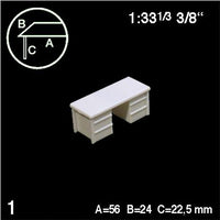 DESK WITH 2 DRAWERS, WHITE, M=1:33 (1 PC)