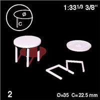 ROUND TABLES, WHITE, M=1:33 (2 PCS)