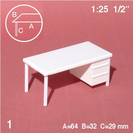 DESK w/ DRAWER, WHITE, M=1:25 (1 PC)