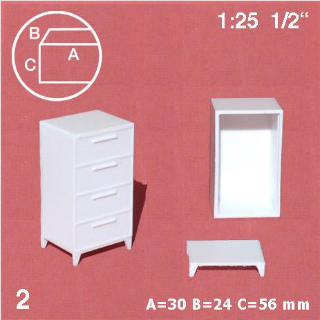 CHESTS OF DRAWERS, WHITE, M=1:25 (2 PCS)