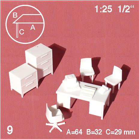 OFFICE FURNITURE SET w/ 1 TABLE, WHITE, M=1:25 (1 SET)