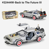 Welly 1:24 Diecast Alloy Model Car DMC-12 delorean back to the future Time Machine Metal Toy Car For Kid Toy Gift Collection