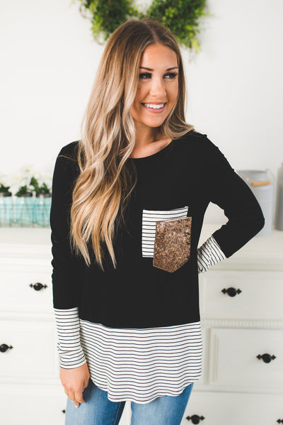 Stripes + Sequins Double Pocket Top (Black)